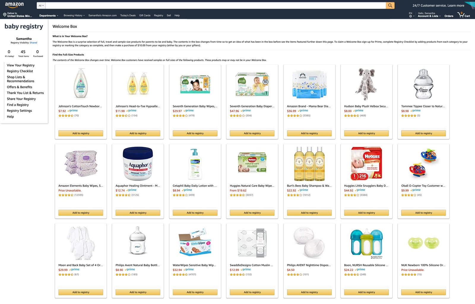 Amazon Baby Registry what is in the welcome box - Baby Gear Essentials
