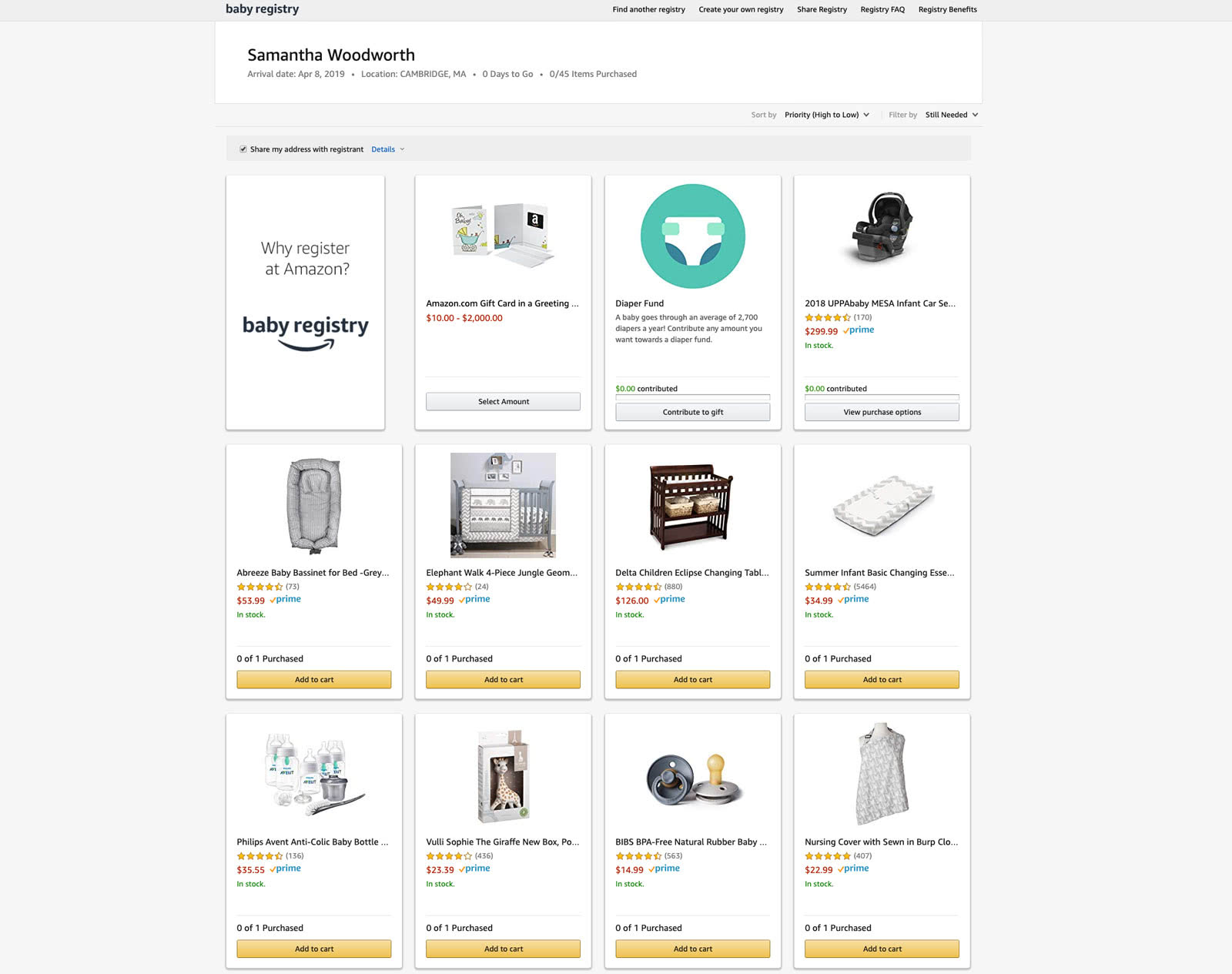 Amazon Baby Registry what your registry looks like to other people Step 4 - Baby Gear Essentials