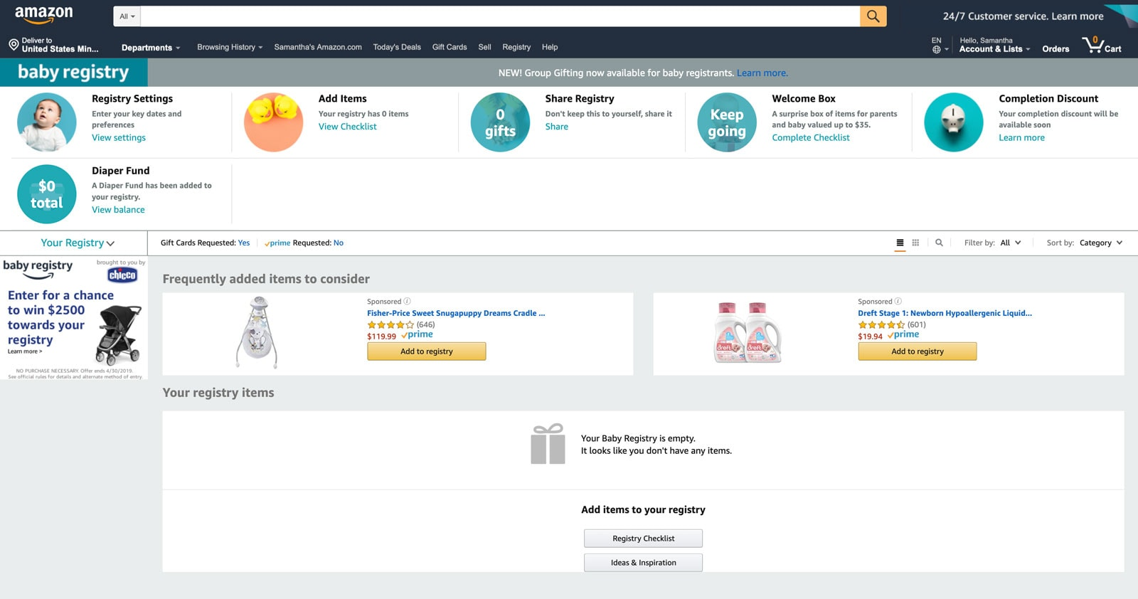 Amazon Baby Registry guide - account page Step 3 - Baby Gear Essentials