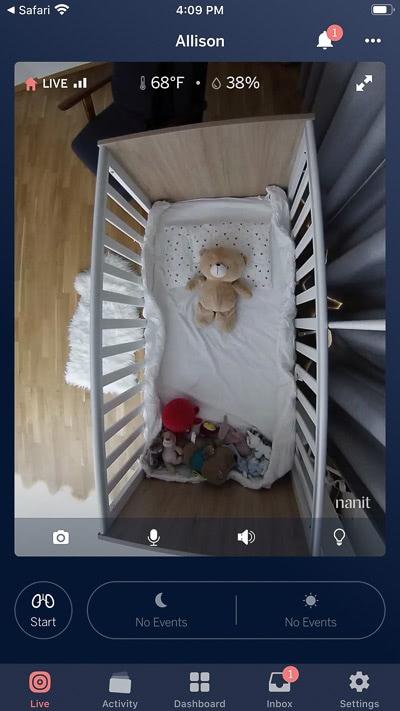 Nanit Plus app live feed tab - Baby Gear Essentials